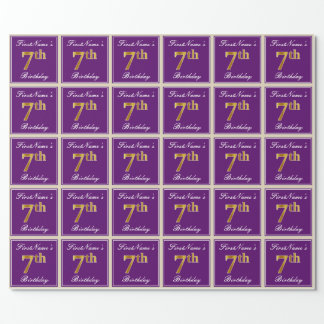 Elegant, Purple, Faux Gold 7th Birthday + Name Wrapping Paper