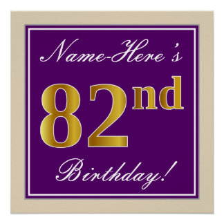Elegant, Purple, Faux Gold 82nd Birthday + Name Poster