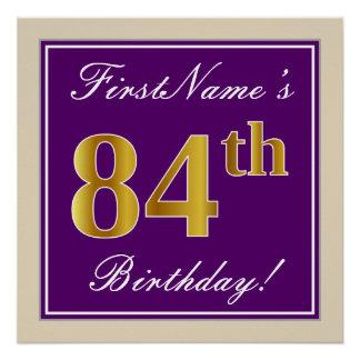 Elegant, Purple, Faux Gold 84th Birthday + Name Poster