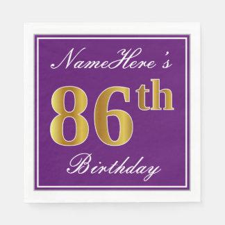 Elegant Purple, Faux Gold 86th Birthday + Name Paper Napkins