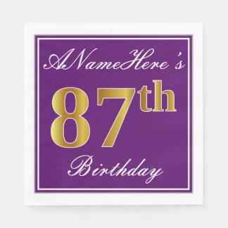Elegant Purple, Faux Gold 87th Birthday + Name Paper Napkins