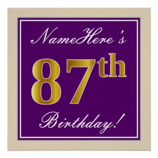 Elegant, Purple, Faux Gold 87th Birthday + Name Poster