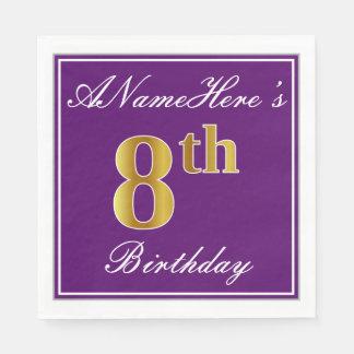 Elegant Purple, Faux Gold 8th Birthday + Name Disposable Napkin