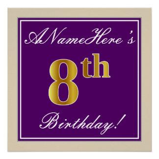 Elegant, Purple, Faux Gold 8th Birthday + Name Poster