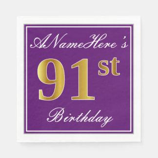 Elegant Purple, Faux Gold 91st Birthday + Name Disposable Napkin