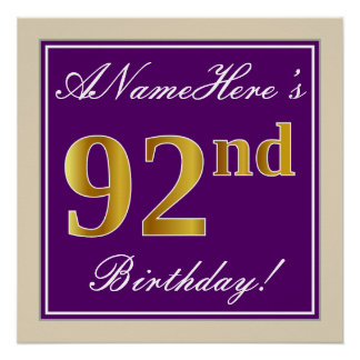 Elegant, Purple, Faux Gold 92nd Birthday + Name Poster