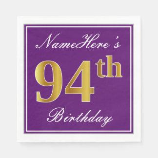 Elegant Purple, Faux Gold 94th Birthday + Name Paper Napkin