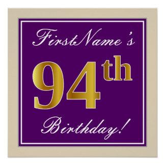 Elegant, Purple, Faux Gold 94th Birthday + Name Poster