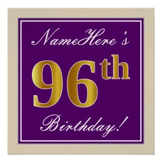 Elegant, Purple, Faux Gold 96th Birthday + Name Poster