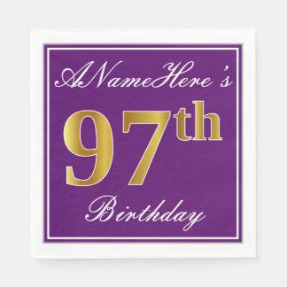Elegant Purple, Faux Gold 97th Birthday + Name Disposable Napkins
