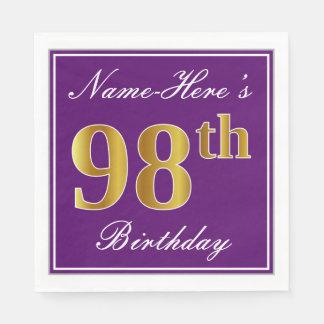 Elegant Purple, Faux Gold 98th Birthday + Name Disposable Napkin