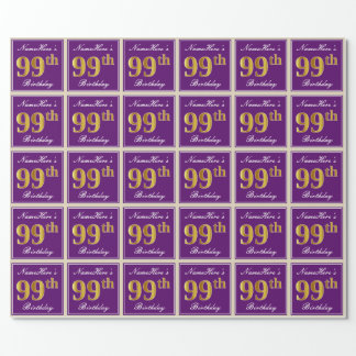 Elegant, Purple, Faux Gold 99th Birthday + Name Wrapping Paper