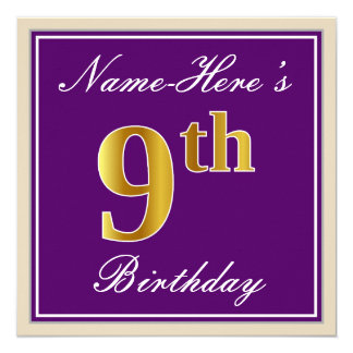 Elegant, Purple, Faux Gold 9th Birthday + Name Card