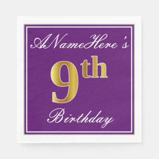 Elegant Purple, Faux Gold 9th Birthday + Name Disposable Napkin