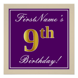 Elegant, Purple, Faux Gold 9th Birthday + Name Poster