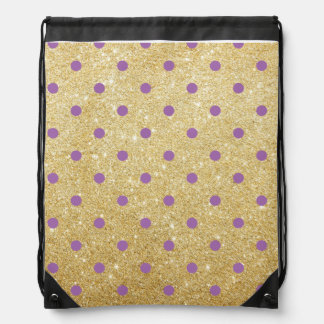 elegant purple faux gold glitter polka dots drawstring bag