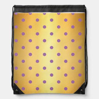 elegant purple faux gold polka dots drawstring bag