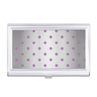 elegant purple faux silver polka dots business card holder