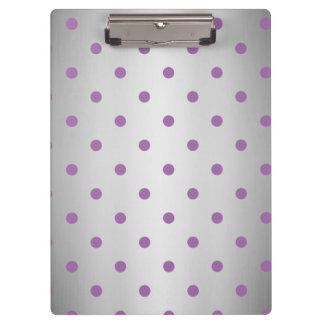 elegant purple faux silver polka dots clipboard