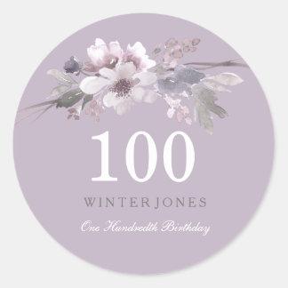 Elegant Purple Floral 100th Birthday Party Classic Round Sticker