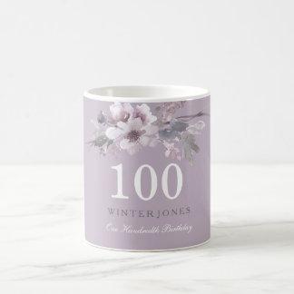 Elegant Purple Floral 100th Birthday Party Gift Coffee Mug