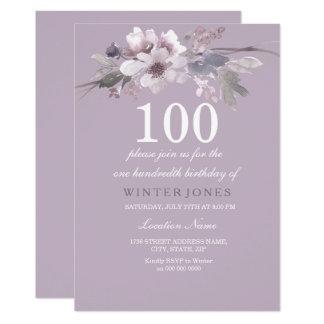 Elegant Purple Floral 100th Birthday Party Invite