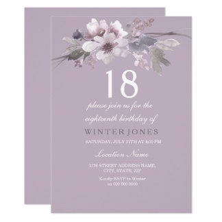 Elegant Purple Floral 18th Birthday Party Invite