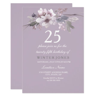 Elegant Purple Floral 25th Birthday Party Invite