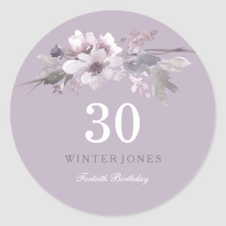 Elegant Purple Floral 30th Birthday Party Classic Round Sticker