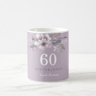 Elegant Purple Floral 60th Birthday Party Gift Coffee Mug