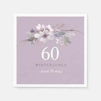 Elegant Purple Floral 60th Birthday Party Paper Napkins