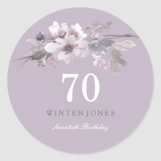 Elegant Purple Floral 70th Birthday Party Classic Round Sticker