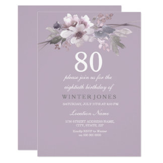 Elegant Purple Floral 80th Birthday Party Invite