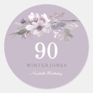 Elegant Purple Floral 90th Birthday Party Classic Round Sticker