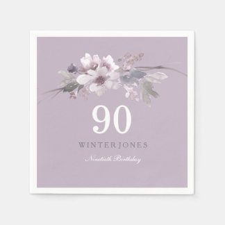 Elegant Purple Floral 90th Birthday Party Disposable Napkin