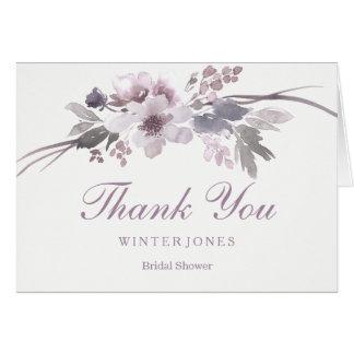 Elegant Purple Floral Bridal Shower Thank You Card