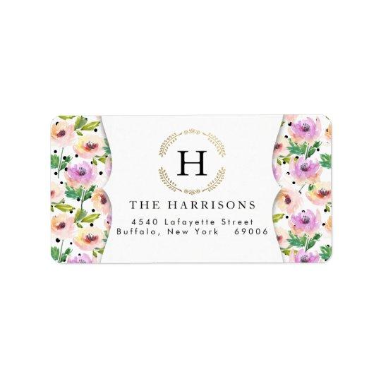 Elegant Purple Floral Dalmatian Dots Personalized Label