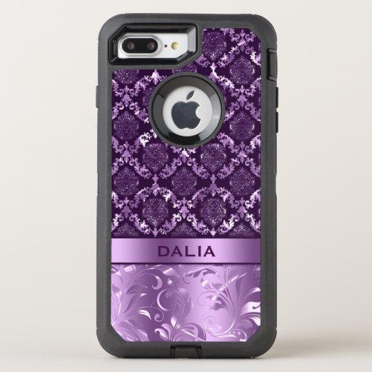 Elegant Purple Floral Damask Metallic Texture OtterBox Defender iPhone 8 Plus/7 Plus Case