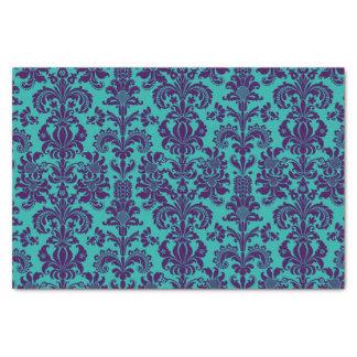 Elegant Purple Floral Damasks Teal Background Tissue Paper