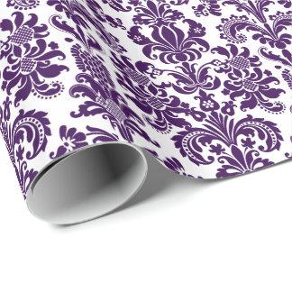 Elegant Purple Floral Damasks White Background