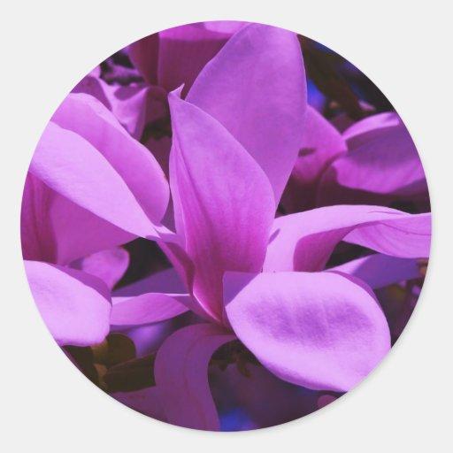 Elegant Purple Floral Fields Round Stickers