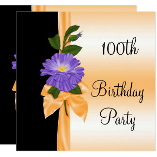 Elegant Purple Flower & Orange Ribbon 100th Card
