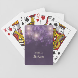 Elegant Purple Glitter Bokeh Sparkles With Name Playing Cards