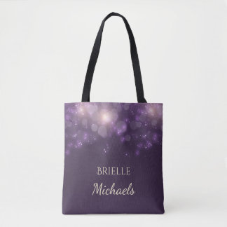 Elegant Purple Glitter Bokeh Sparkles With Name Tote Bag