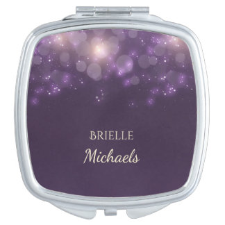 Elegant Purple Glitter Bokeh Sparkles With Name Travel Mirrors