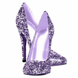 Elegant Purple Glitter High Heel Shoes Photo Cut Outs