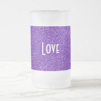 Elegant Purple Glitter Look Texture Frosted Glass Beer Mug