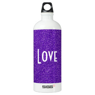 Elegant Purple Glitter Look Texture Water Bottle