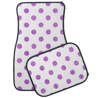 Elegant Purple Glitter Polka Dots Pattern Car Floor Carpet
