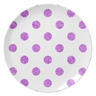 Elegant Purple Glitter Polka Dots Pattern Dinner Plate